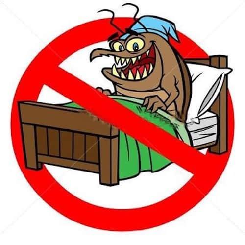 Cimice del letto cartoon con simbolo di divieto