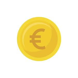 Icona di una moneta d'oro con simbolo euro