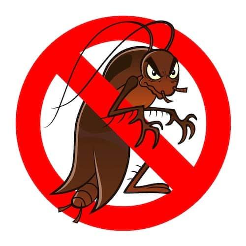 Scarafaggio cartoon con simbolo di divieto