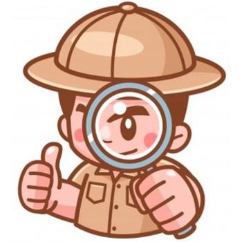 Investigatore cartoon con lente di ingrandimento