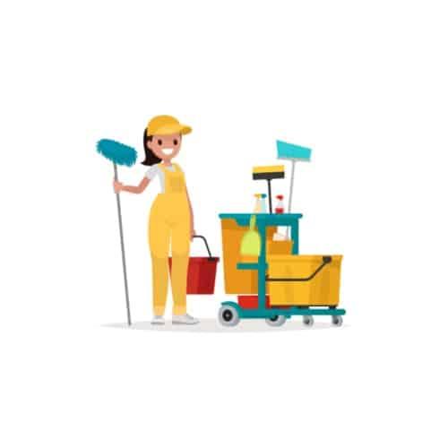 Servizio di pulizie professionista cartoon